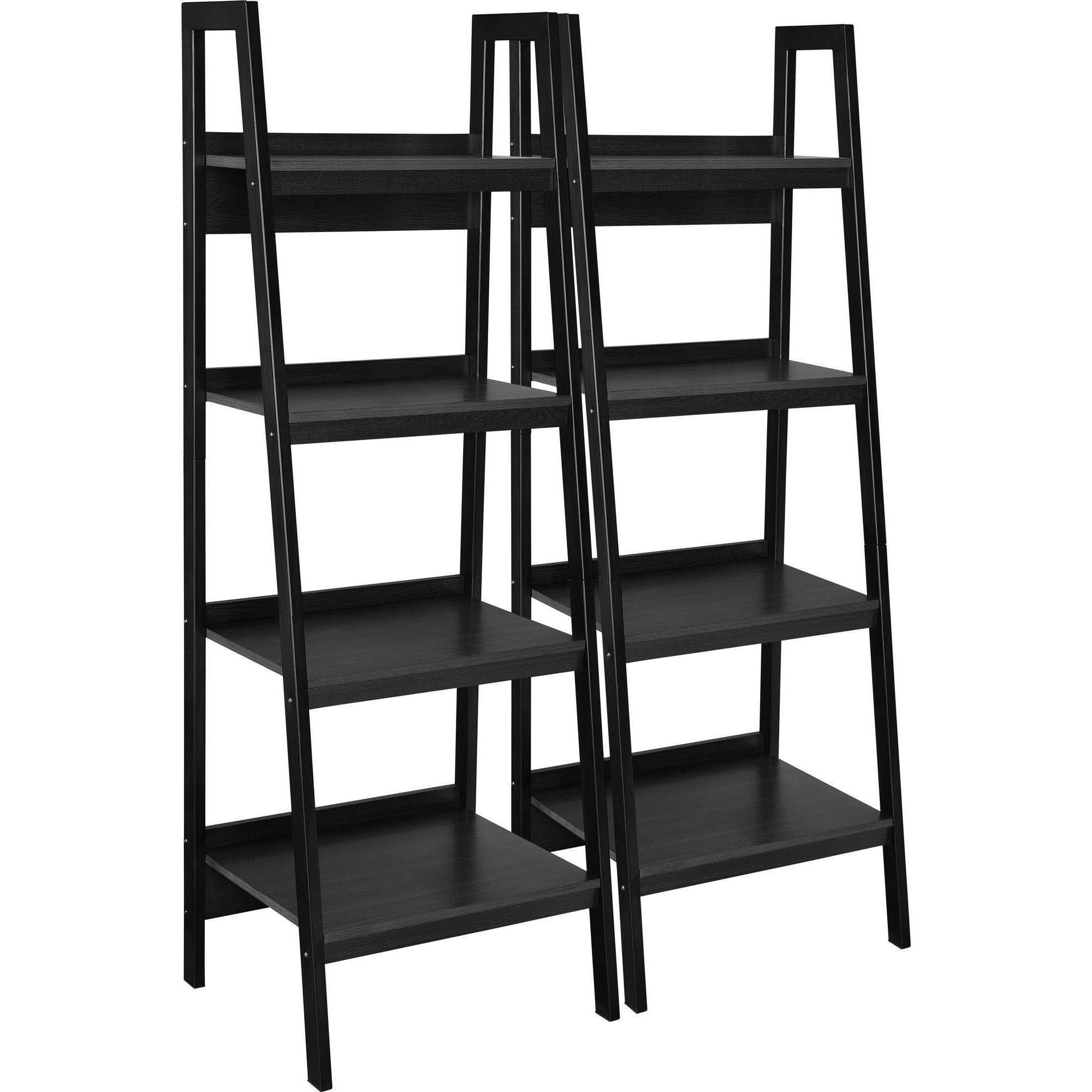 Ameriwood home hayes 4 shelf ladder bookcase bundle black