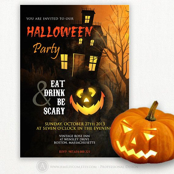 Printable Halloween Invitation - Halloween Party Flyer, Happy