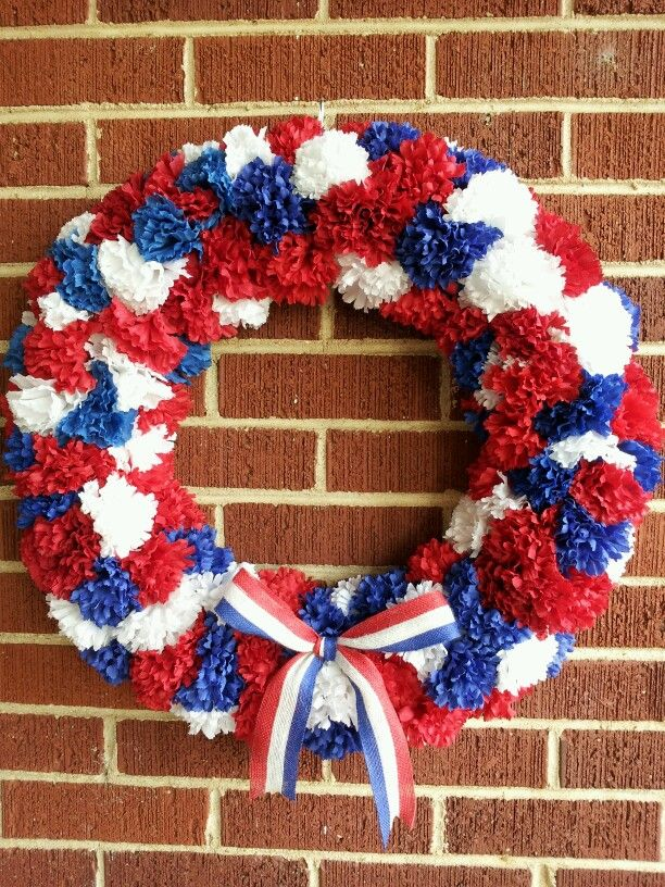4th Of July Pom Pom Wreath