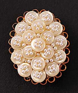Button Pin, pretty with seed beads in the thread holes.