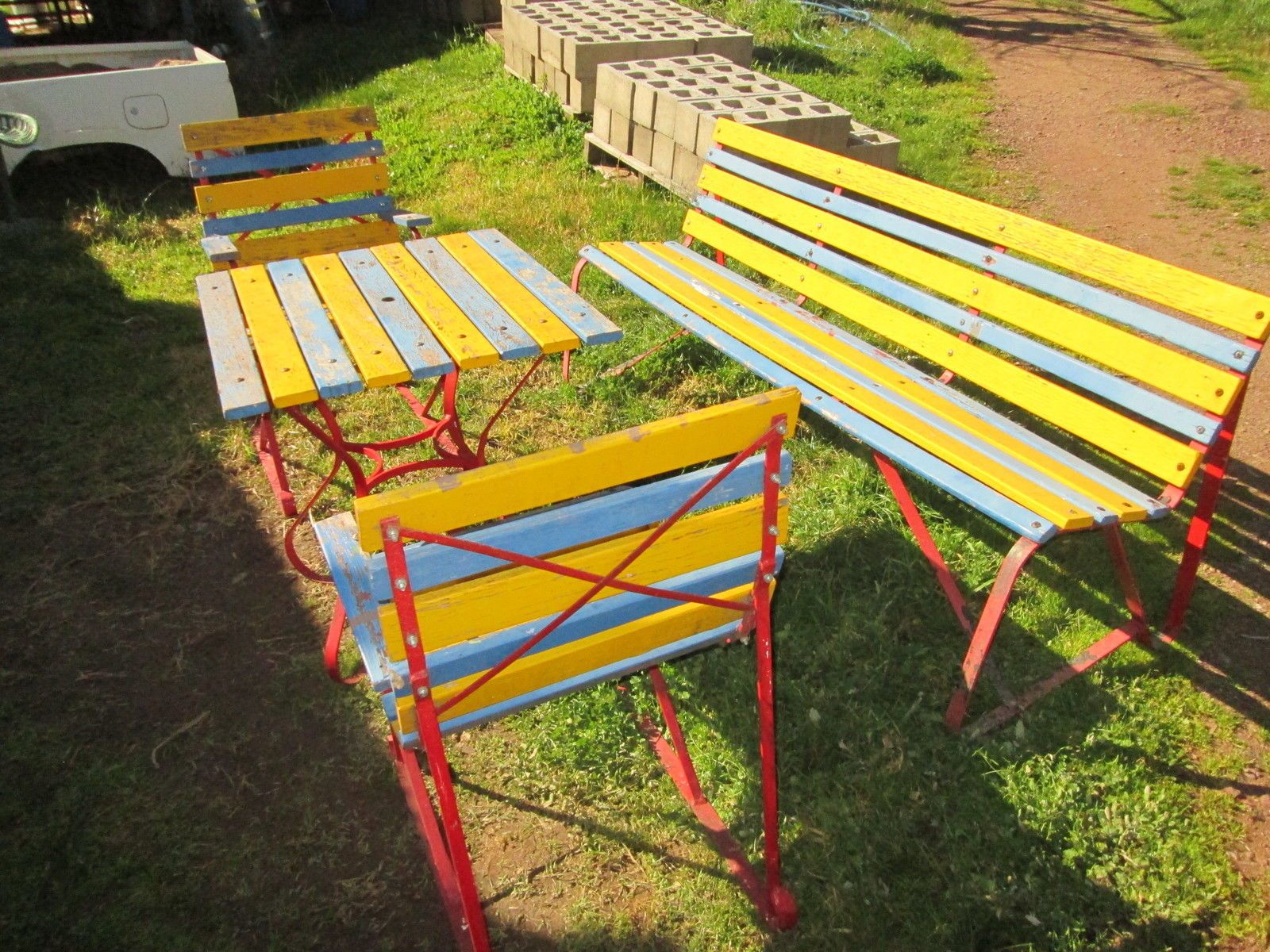 Vintage Retro Outdoor Garden Setting Table And 2 Chairs 400 x 300