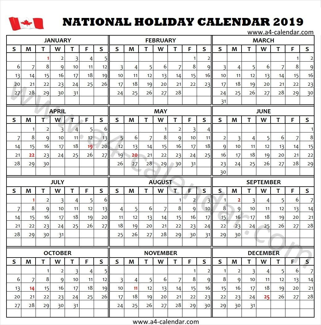 2019 Canada Holidays