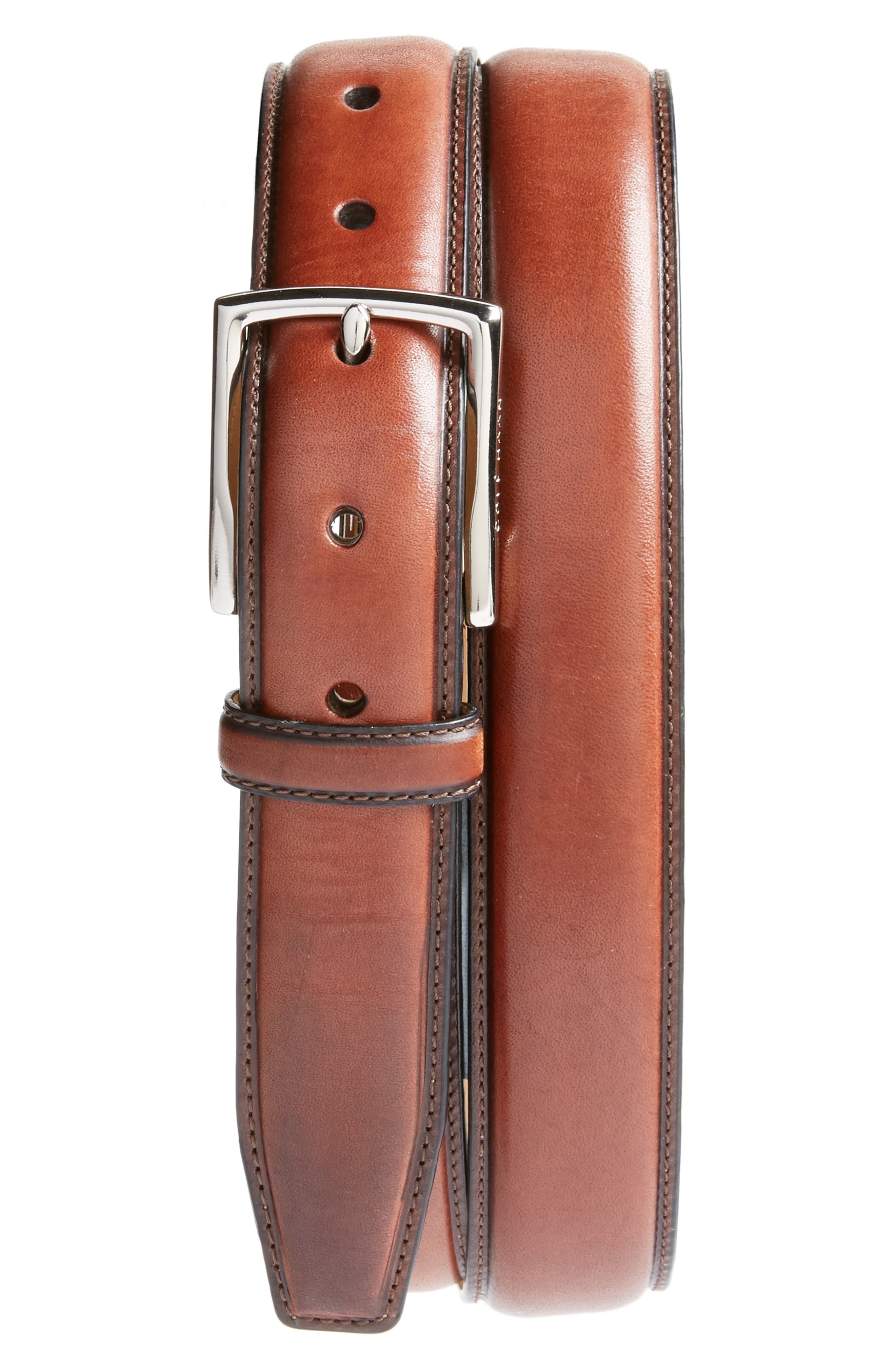 New Mens Cole Haan Genuine Leather Brown Hand Burnished Nubuck Dress Belt