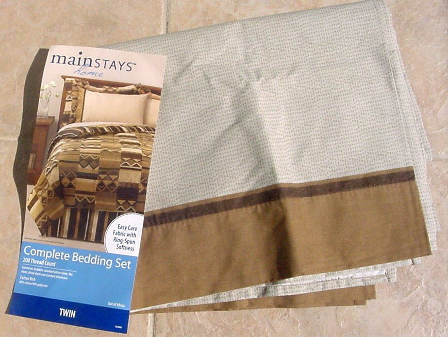 MAINSTAYS OUT OF AFRICA 1 Flat Twin Sheet Bed Bedding #MAINSTAYS
