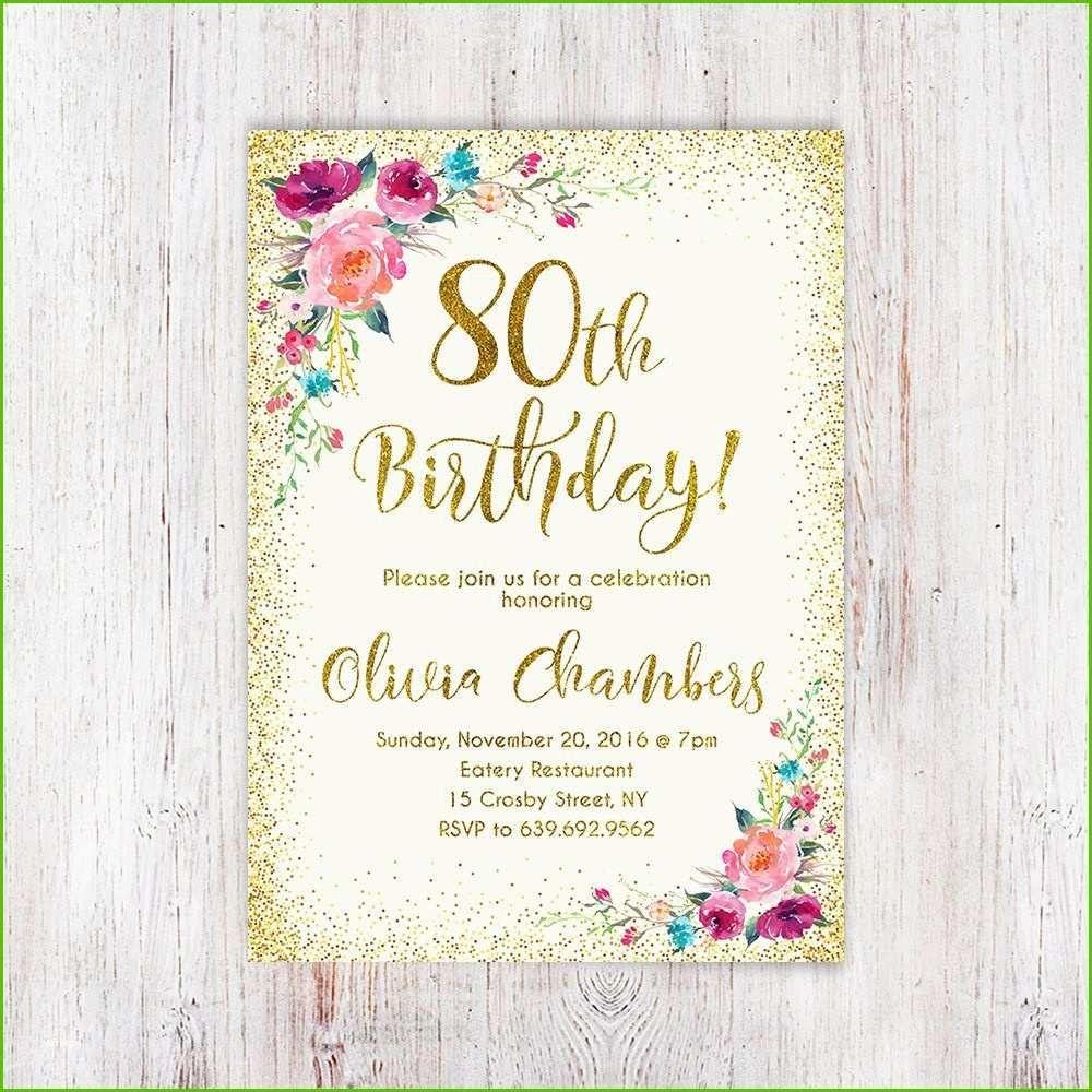 Einladungskarten 80 Geburtstag Einladung Einladung Insparadies