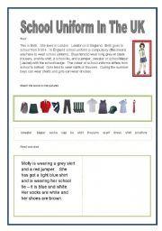 English Worksheets: School Uniform in the UK | E - school uniforms ...