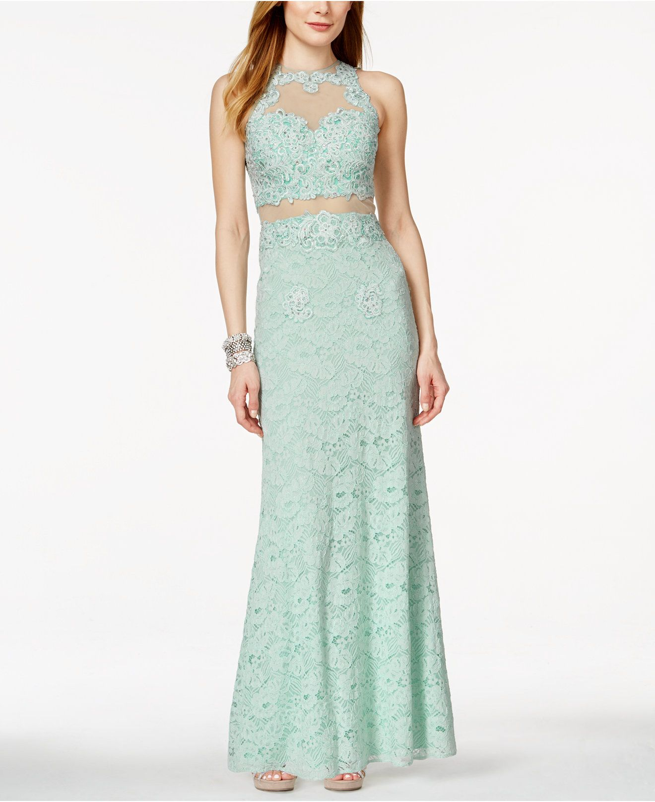 Betsy & Adam Sleeveless Lace Illusion Gown - Juniors Shop All Prom ...