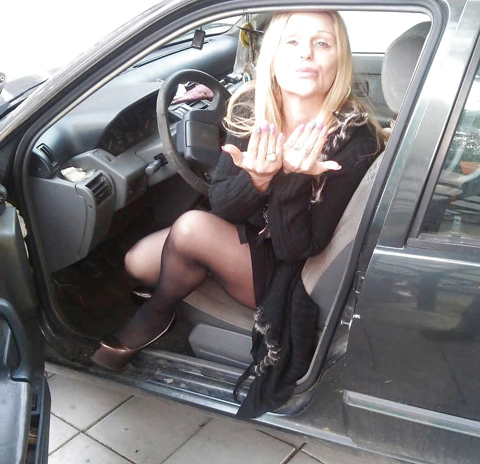 Ass pantyhose in the car this