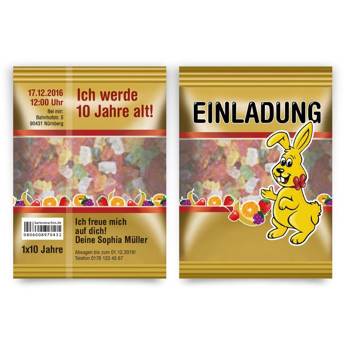 Einladung Kindergeburtstag - Gummibärchen Tüte Motiv #geburtstag ...