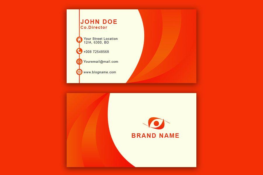 Orange Business Card Template Psd Free Business Card Templates Business Card Template Business Card Template Psd