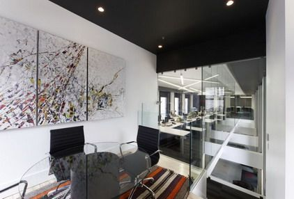 abstract graffiti wall art decoration in modern office interior