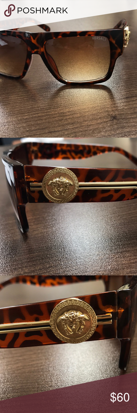 Versace Men\'s Brown Gold Sunglasses MINT $290