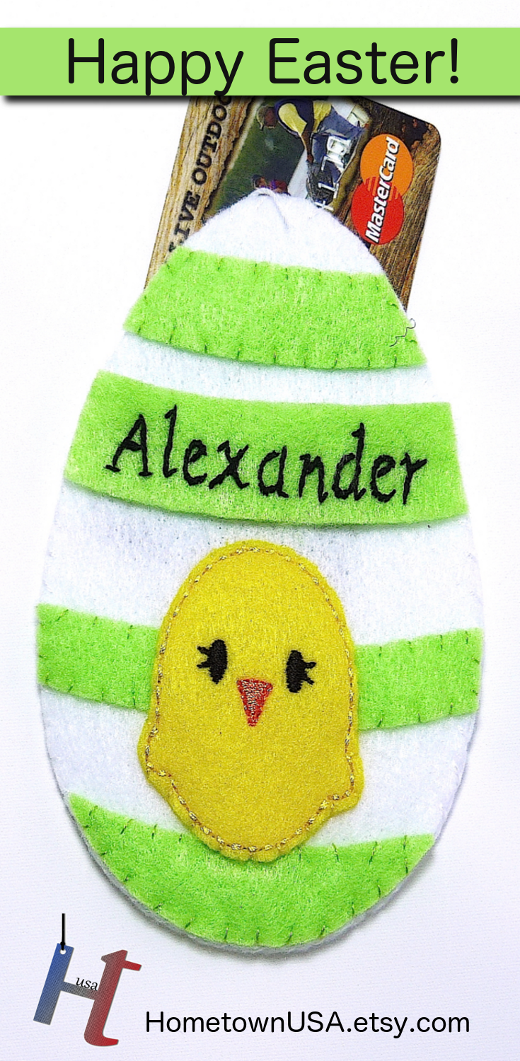 Personalized felt easter egg ornament gift card holder or cash gift personalized felt easter egg ornament gift card holder or cash gift holders easter basket gift negle Image collections