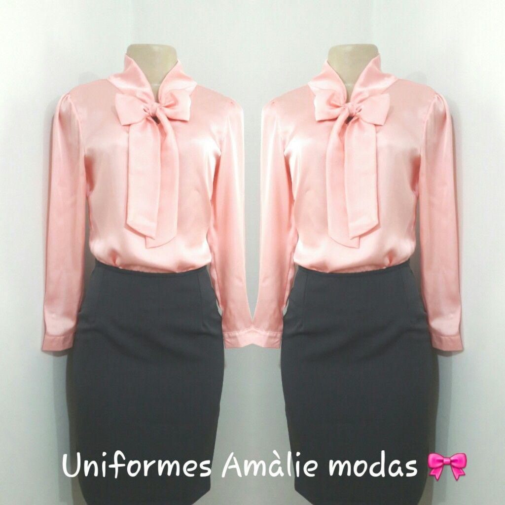 Uniformes Amàlie modas 🎀 Blusa com laço rosa bebe. Tecido silk cetim.  Fabricação própria. 34746b11d1f