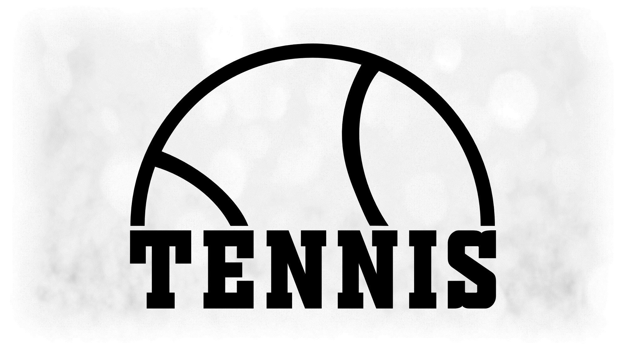 Sports Clipart Large Black And White Half Tennis Ball With Etsy Bold Words Tennis Ball Tennis