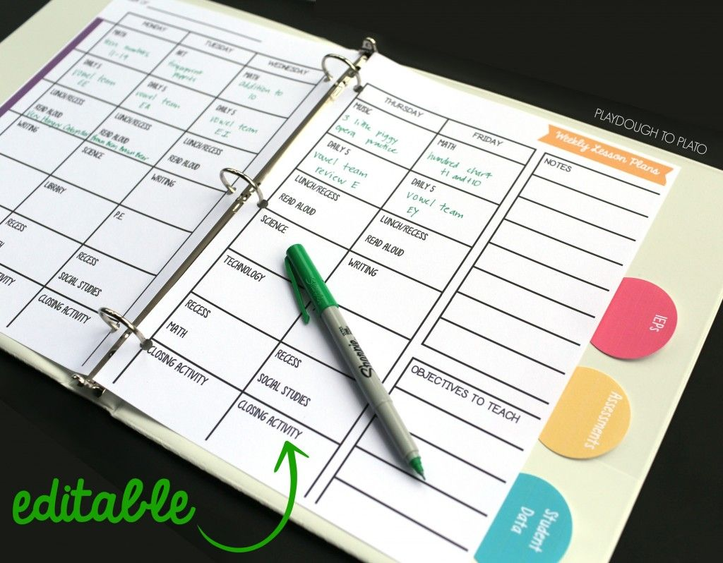 Free Editable Lesson Planner School Type Stuff