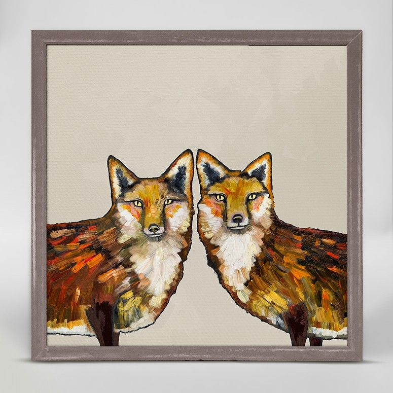 """Fox Duo - Cream"" Mini Framed Canvas from GreenBox Art + Culture. Size - 6''x6''. Price - $29.98. Rustic frame color is predetermined. Browse our entire collection of Mini Framed Canvases!"