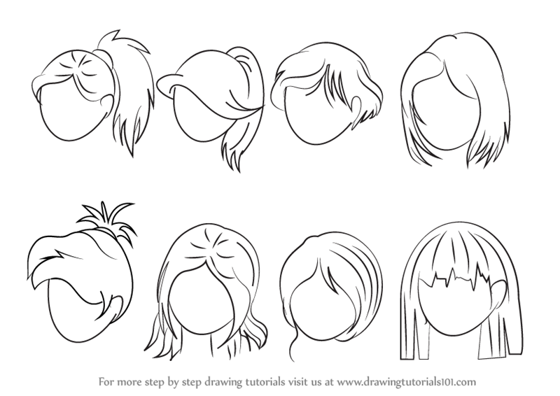 Learn How To Draw Anime Hair Female Hair Step By Step Drawing Tutorials How To Draw Anime Hair How To Draw Hair Cartoon Hair