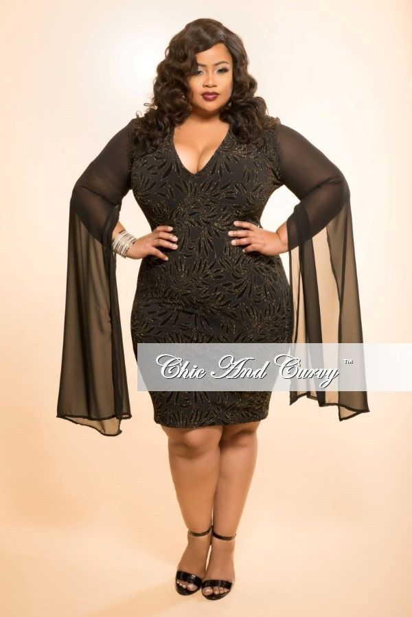 e849d80bc9 Plus Size BodyCon Dress with Sheer Sleeves and Gold Stone Front – Chic And  Curvy