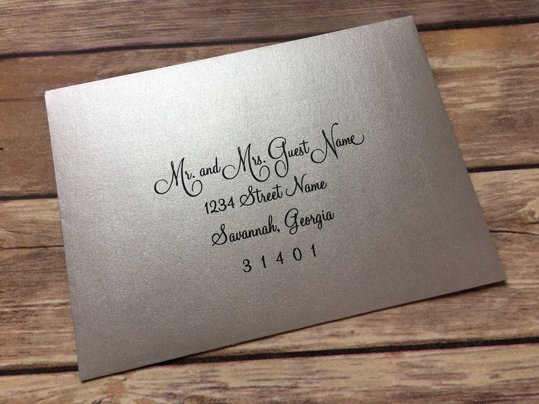 Silver Envelope Printed Wedding Invitation Calligraphy Printed