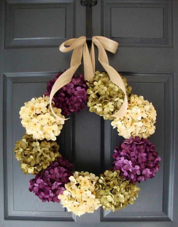 Door wreath & Hydrangea Wreaths | Summer Wreath | Entryway Decor | Front Door ... pezcame.com