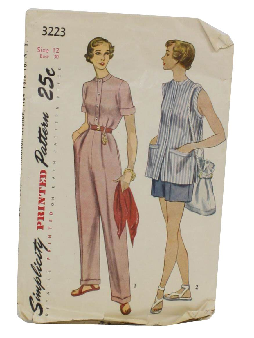 50s -Simplicity 3223- Misses slacks, shorts and shirt. A band trims the neckline and the front buttoned closing of the shirt and the short sleeves turn up to form cuff. The shorts and slacks are pleated softly at the front and large pockets are concealed in the side seams. Belt carriers are optional and the slacks turn up at the bottom to form cuffs. In style 11 the shirt is sleeveless. The armholes and large patch pockets are trimmed with bands.