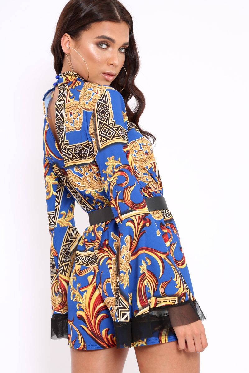 b816ad5879 REBELLIOUS FASHION - BLUE SCARF PRINT OPEN BACK PLAYSUIT - CASSIA - 2018