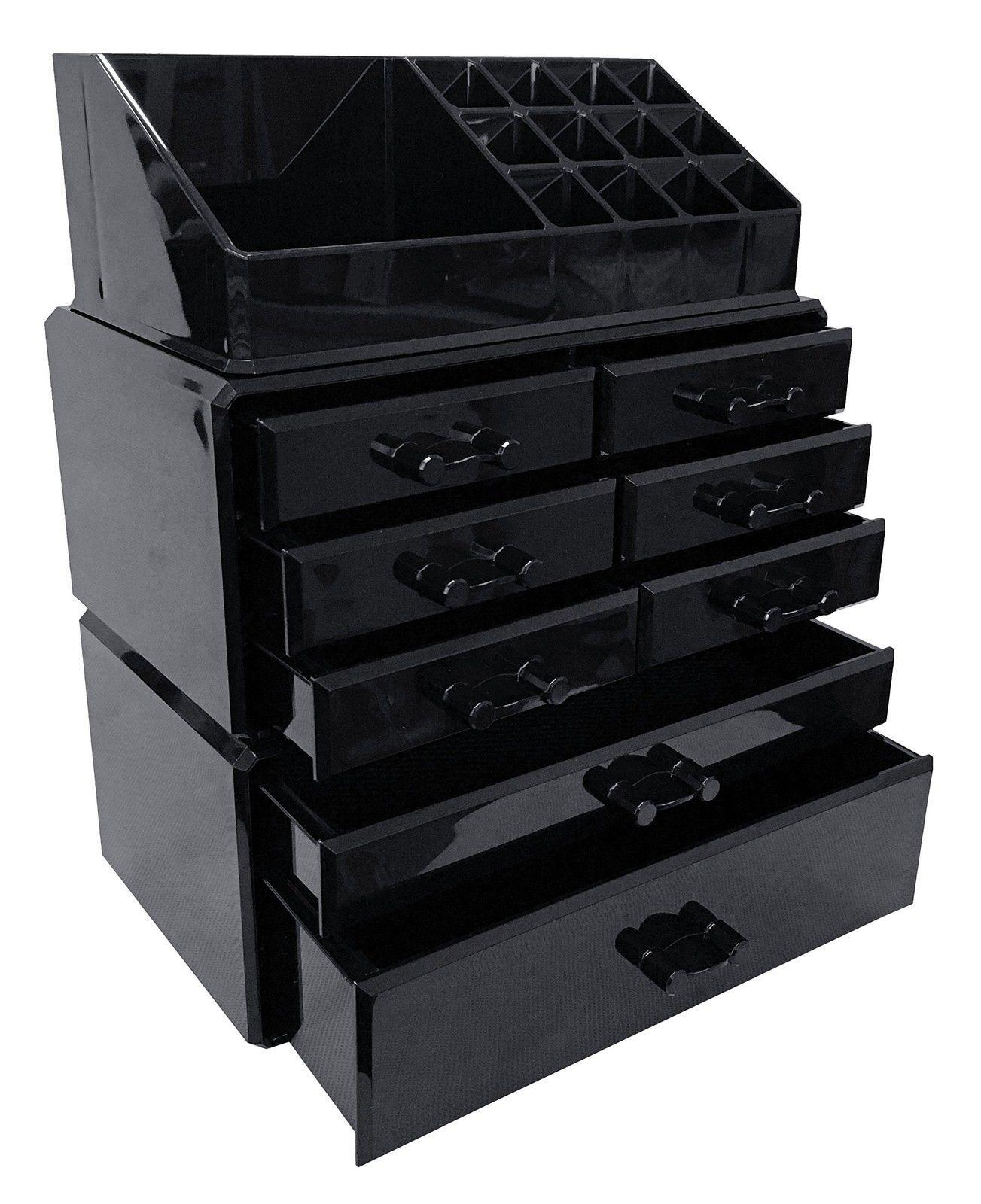 Black Acrylic Makeup Organizer Drawers Box Ma\u2026