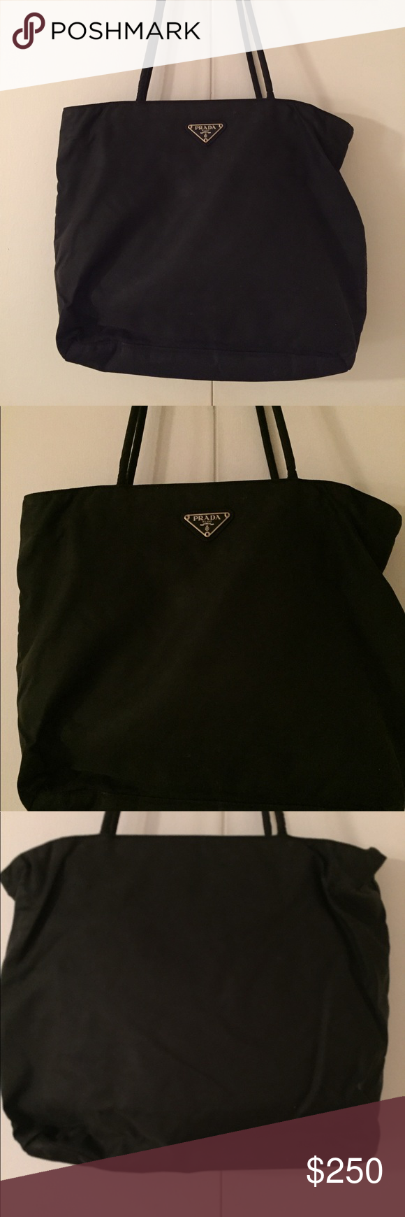 fc7d76330f28 ... purchase authentic prada nylon purse authentic nylon prada tote.  vintage prada black nylon shoulder bag