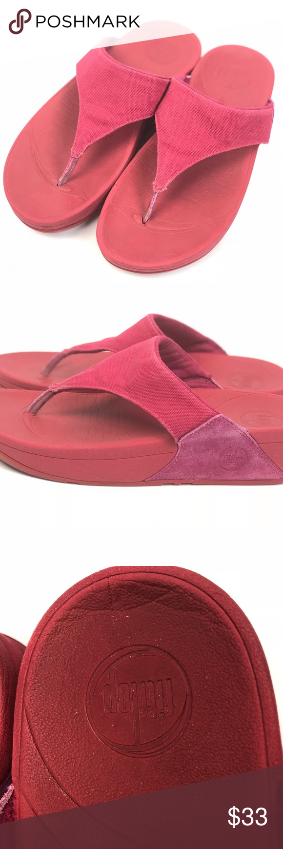 4f771252ccffdd FITFLOP Red Canvas Sculpting Thong Sandals Sz 7 Red canvas and suede  sculpting sandals by fitflop. Good preowned condition