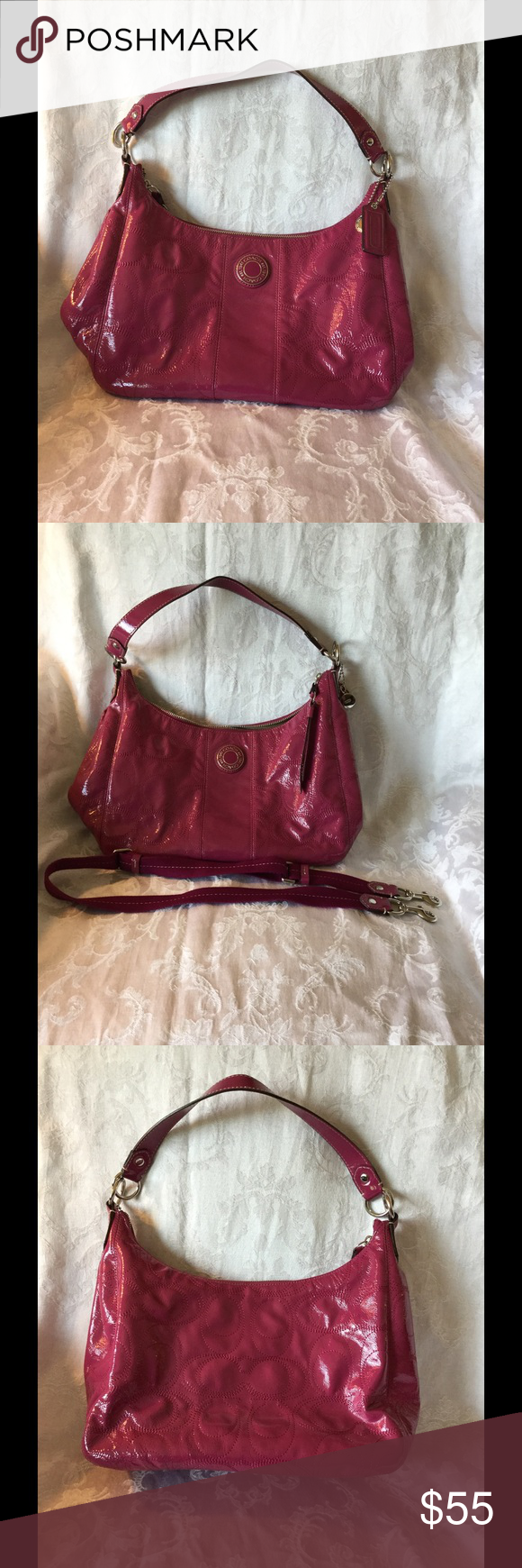 Coach Patent Magenta Hobo Coach patent magenta hobo bag. Has a removable strap so you can use it as a shoulder bag or purse. It is 15 inches long and 9 inches tall. The C's are stitches into the material. Used but like new with no wear and tear. Coach Bags Hobos
