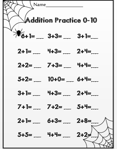 Halloween Addition To 10 Common Core Aligned For First Grade Math For 1st Graders Halloween Math Worksheets Halloween Math