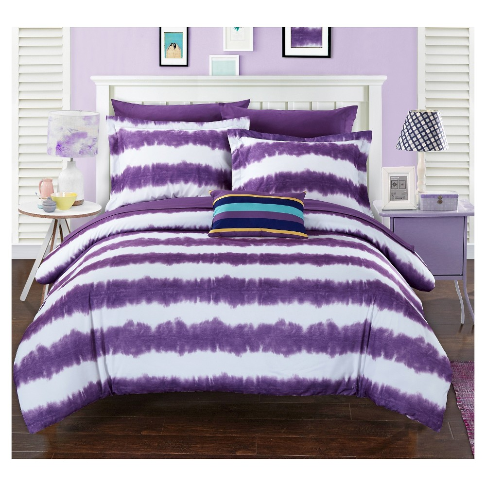 lucas striped shibori tie dye printed comforter set 7 piece twin lucas striped shibori tie dye printed comforter set 7 piece twin xl purple