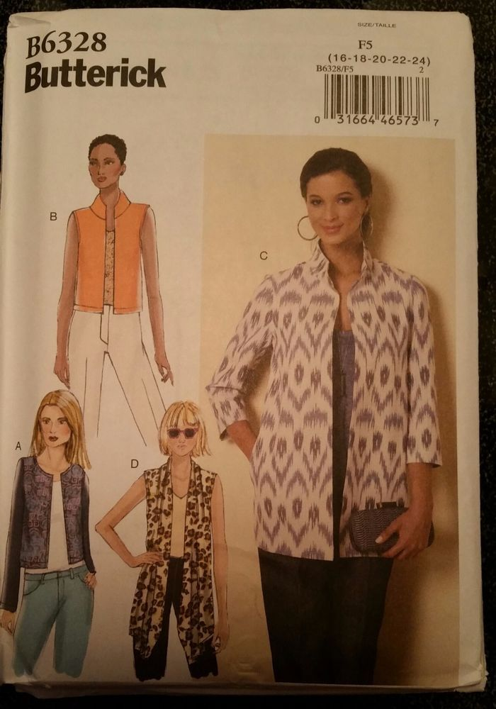 Butterick Pattern B6328 sizes 16-24 Misses' Open-Front Jackets #Butterick