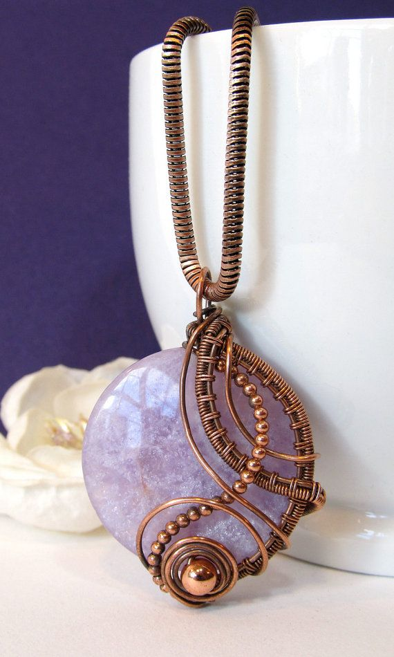 Amethyst Wire Wrapped Pendant Sterling Silver by BellaDivaBeads