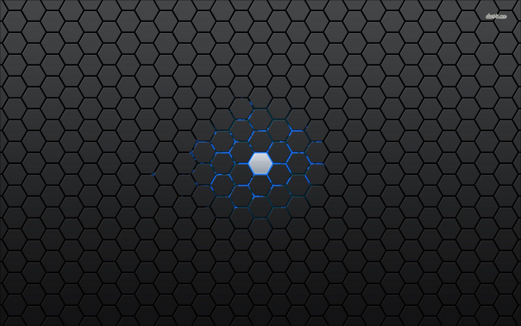 Carbon Fiber Blue Abstract Hexagon Pattern Texture Wallpaper