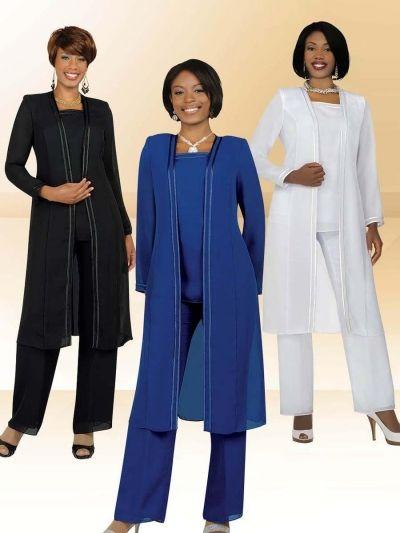 Misty Lane By Ben Marc 13062 Church Usher Pant Suit Women S 3 Piece Choir Pantsuit Features Pebble Georgette Fabric