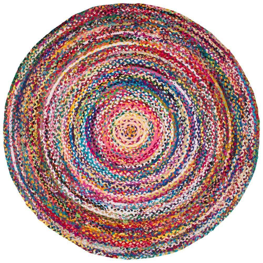 Nuloom Tammara Colorful Braided Multi 8 Ft Round Rug Mgnm04a 808r