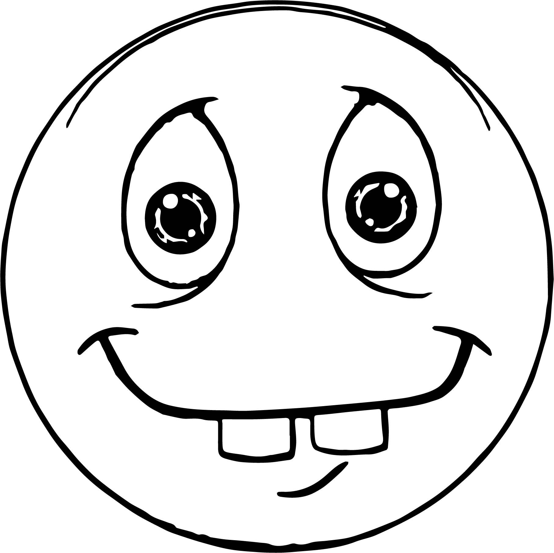awesome Two Tooth Face Emoticon Coloring Page | Coloring ...