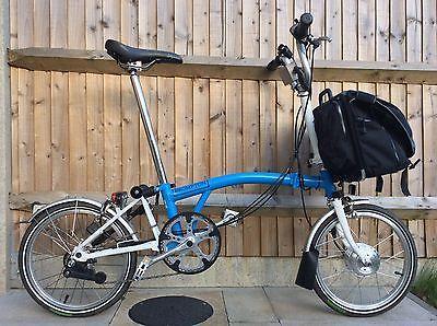 Brompton M6l Nano Electric Blue White Folding Bike Cycle Worldwide Shipping Bikes Cycling Folding Bike Brompton Brompton Bicycle