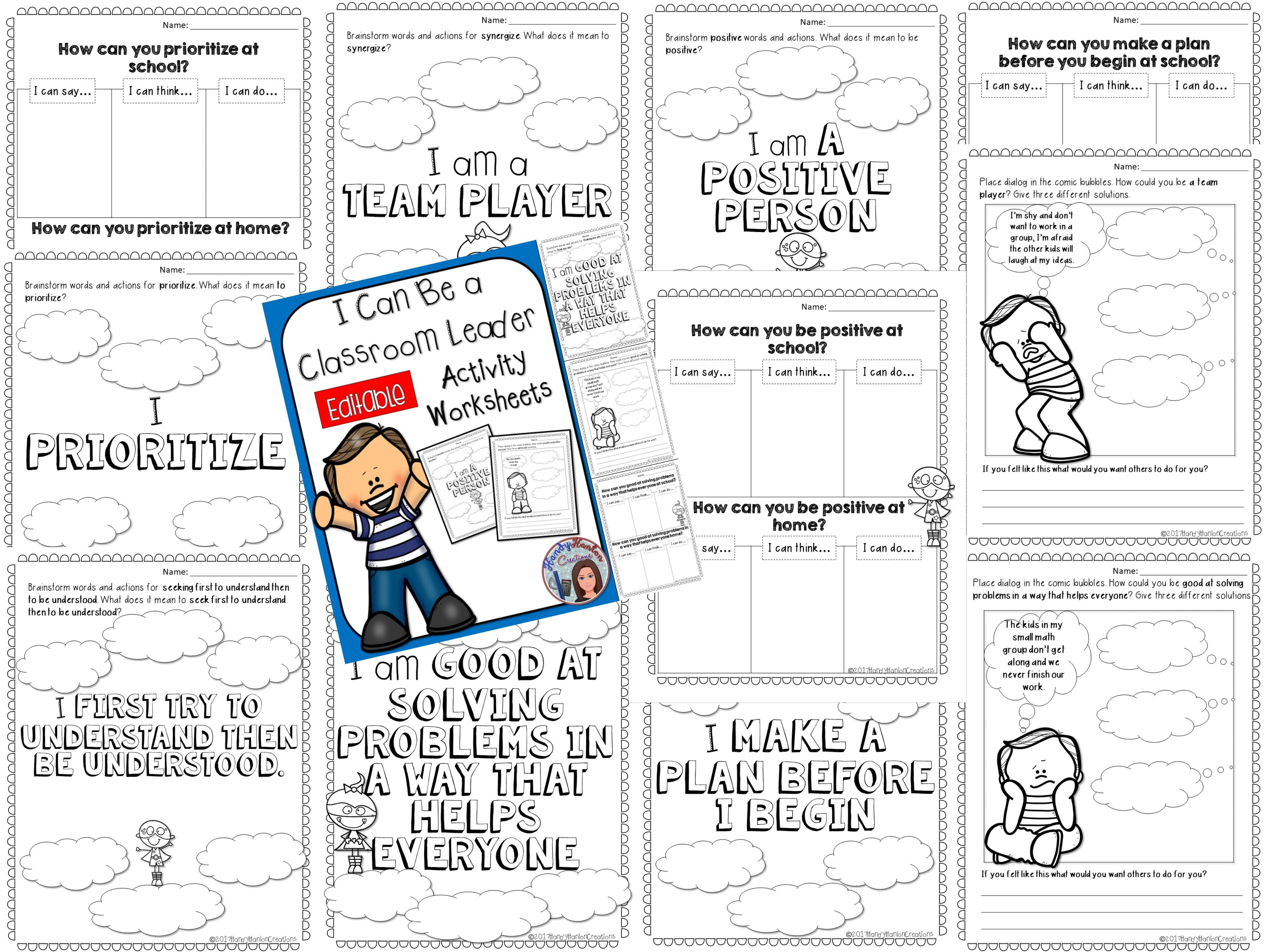 Leadership Activity Editable Worksheets With Images