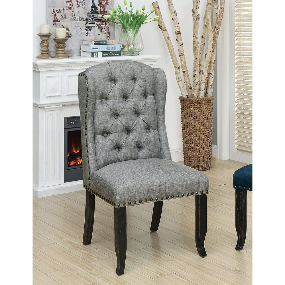 Furniture Of America Telara Tufted Wingback Dining Chair Set Of 2 Antique Dining Chairs Beige Tufted Black Dining Chairs Furniture Tufted Dining Chairs