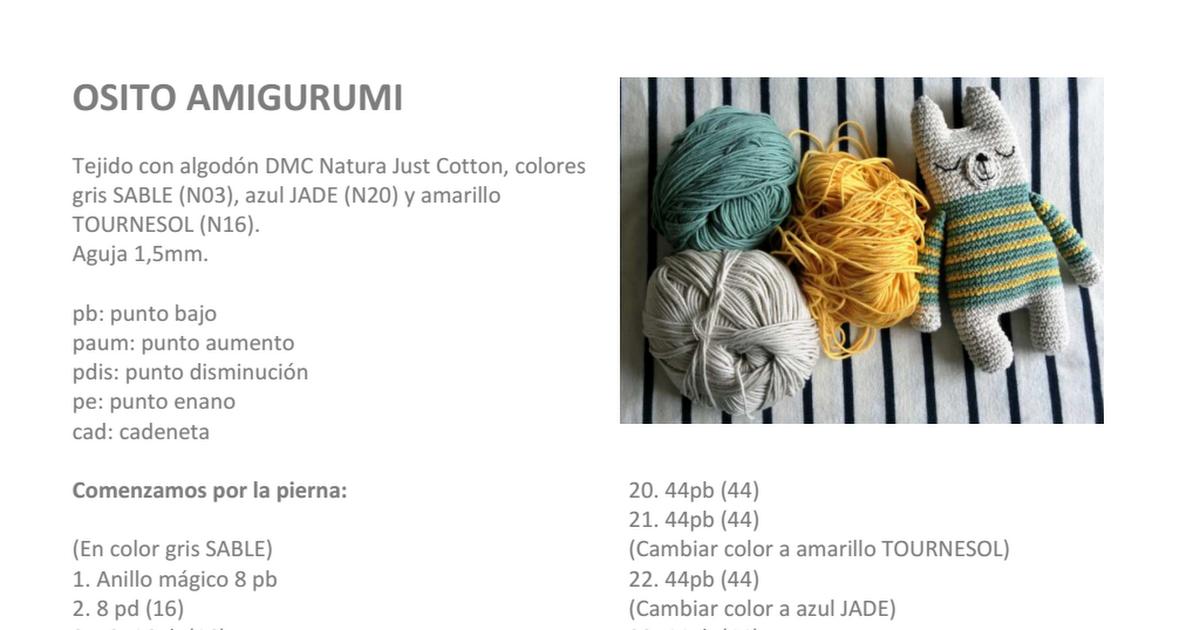 patron osito amigurumi a rayas.pdf | Crochet patrones gratis/free ...