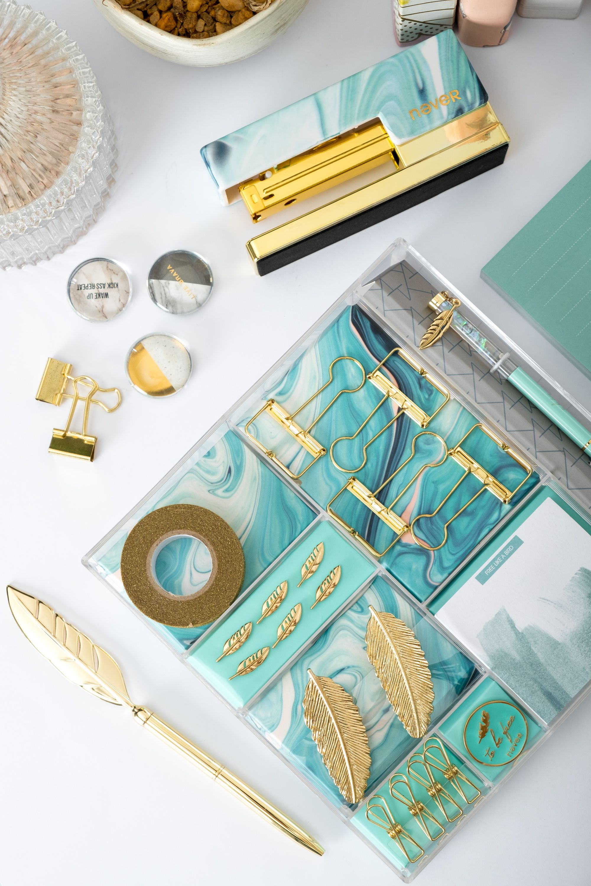 Aqua Stationery Set Stationery Set Gold Desk Accessories Desk Accessories