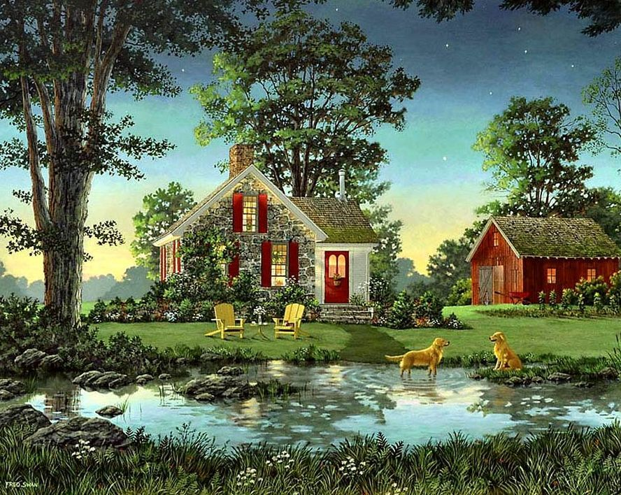 Tiny Country Cottage By Fred Swan