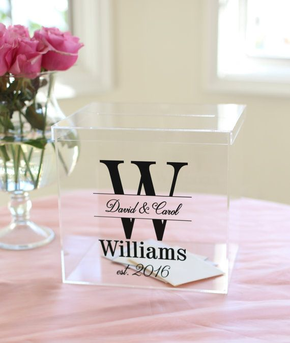 Personalized Wedding Card Box Clear Acrylic Monogrammed With Last Name Item Eebb201 Card Box Wedding Personalized Wedding Card Box Simple Wedding Cards