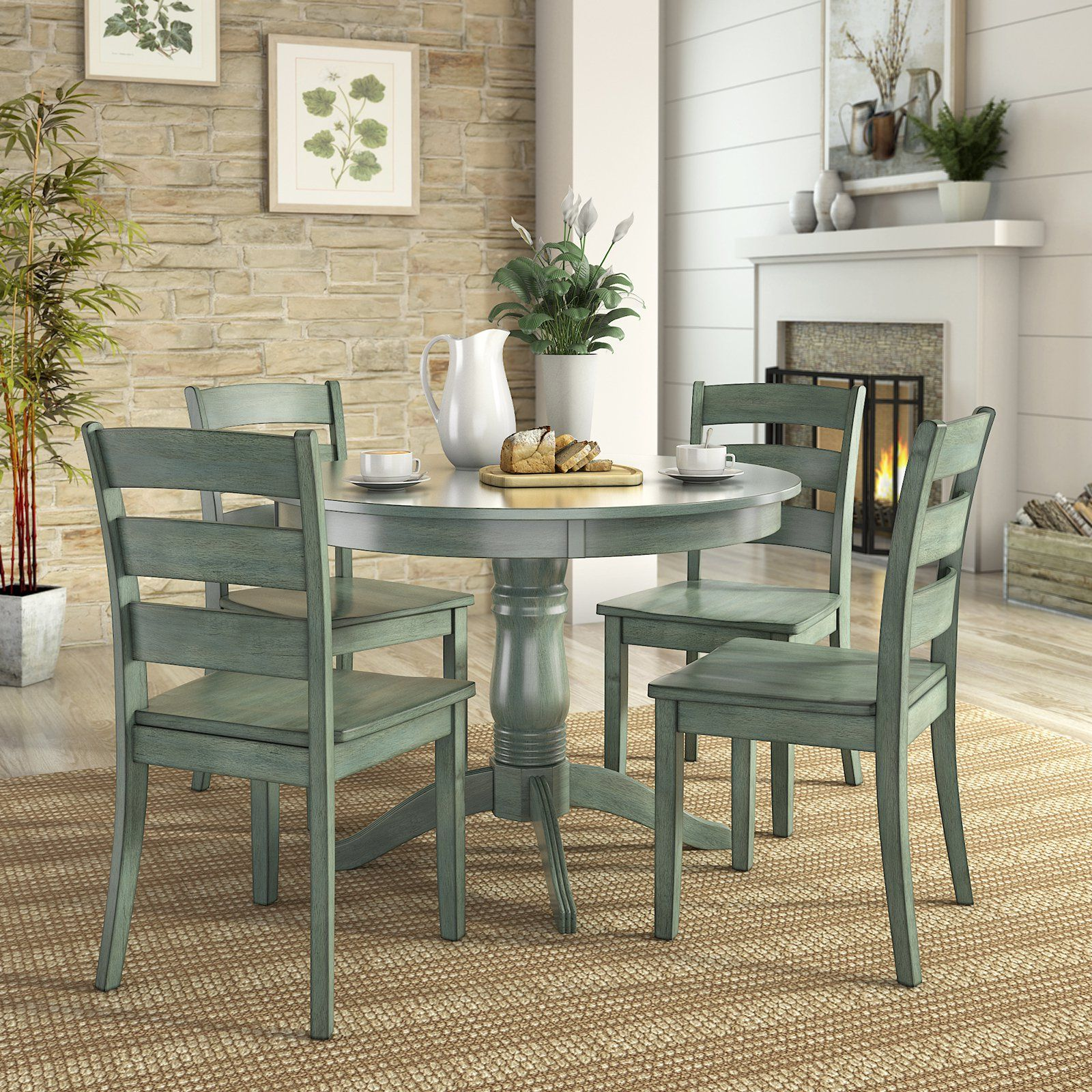 Weston Home Lexington 5 Piece Round Dining Table Set with Ladder