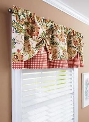 Red Kitchen Valance Small Scale 60 X14 Green Yellow Country Floral Gingham Window Treatment
