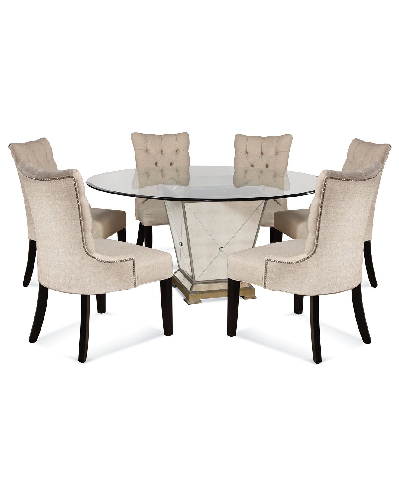 marais dining room furniture 7 piece set 60 mirrored dining table and 6 chairs dining. Black Bedroom Furniture Sets. Home Design Ideas