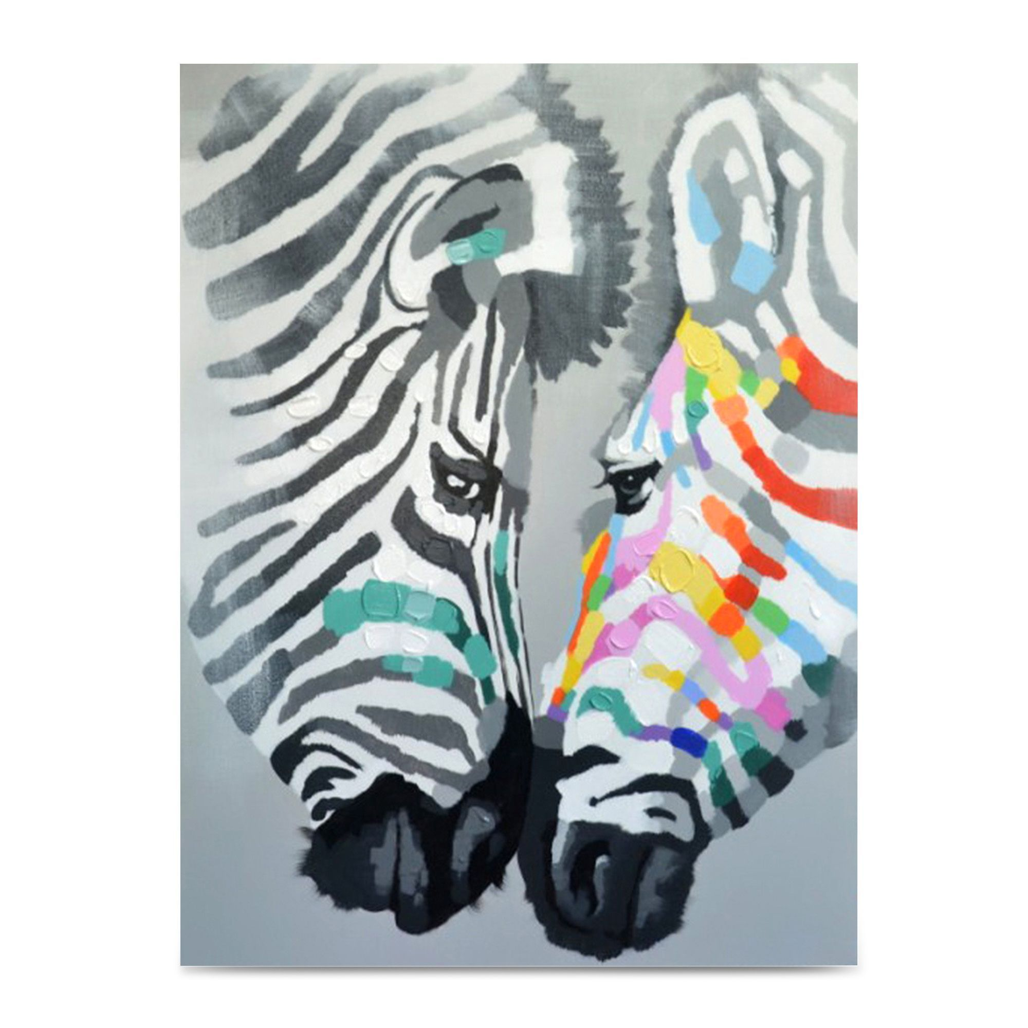 Toile peinte la main 92x120cm multicolore zebre for Deco murale zebre
